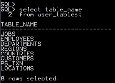 select table_name from user_tables