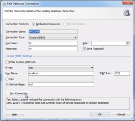 Testing the ADF database connection