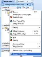 Accessing the ADF Project Properties screen