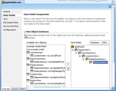 Picture of a Pre-configured Data Model in the Jdeveloper IDE