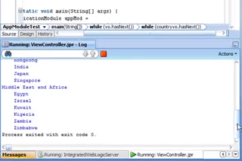 Screenshot showing the code output
