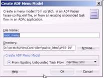 Create navigation menu dialog
