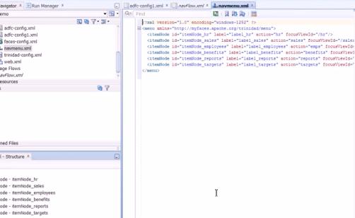 XML menu structure