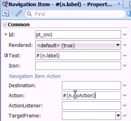 Changing the Text and Action values of the new navigation item