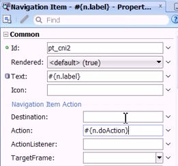 Setting the properties for the navigation item