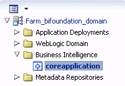 Selecting core application from the left-hand nav menu