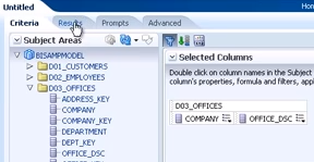 Selecting columns from the repository for use in the analysis
