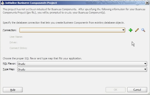 Initialize Business Components Project dialog