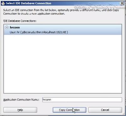 Select IDE Database Connection dialog